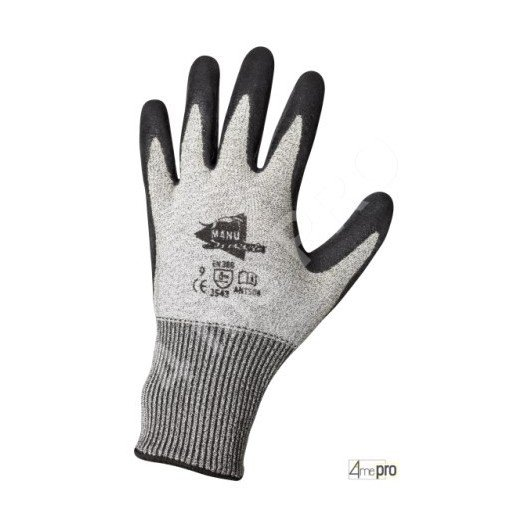 Gants anti-coupure enduction latex noir - support composite gris - norme EN 388 3543