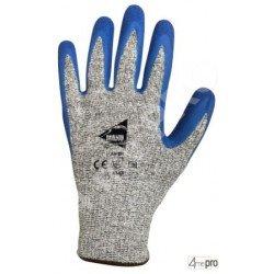 Gants anti-coupure enduction latex bleu sur support HPPE gris - norme EN 388 4343