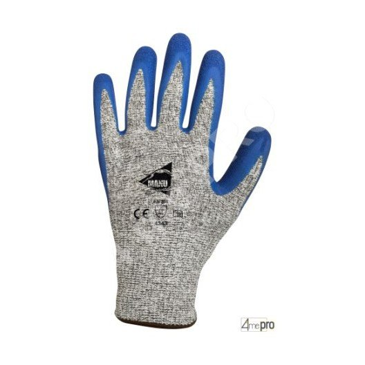 Gants anti-coupure enduction latex bleu sur support HPPE gris - norme EN 388 4343