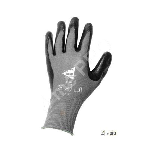 Gants manutention - nitrile mousse noir sur support nylon noir - norme EN 388 4121
