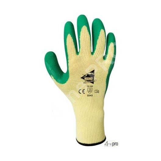 Gants manutention - latex vert sur support polycoton jaune - norme EN 388 2243