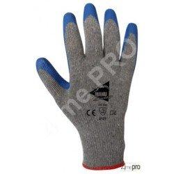 Gants manutention - latex bleu sur support polycoton gris recyclé - norme EN 388 2121