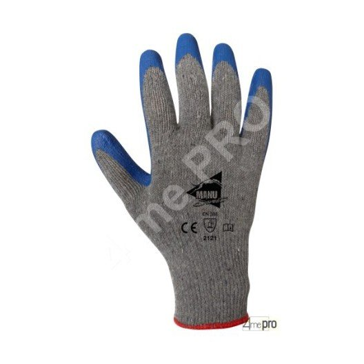 Gants manutention - latex bleu sur support polycoton gris recyclé - norme EN 388 2121