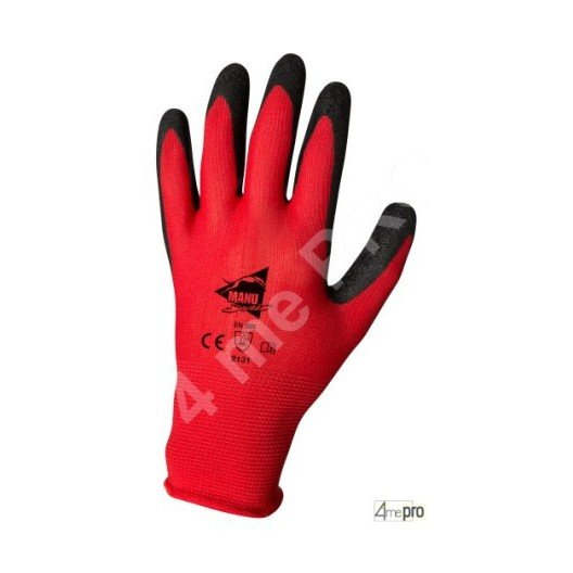 Gants manutention - latex noir sur support polyester rouge - norme EN 388 2131