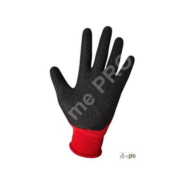 Gants manutention enduction latex noir sur polyester rouge - Gant latex noir ...