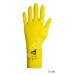 Gants protection chimique 32cm - latex flocké coton - normes EN 388 1011 / EN 374