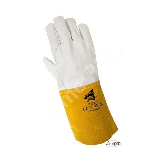 Gants soudeur résistants chaleur - cuir bovin pleine fleur cousu kevlar - normes EN 388 3132 / EN 407 41xx4x