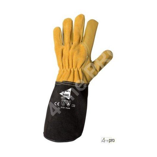 Gants soudeur TIG résistants chaleur - cuir chèvre cousu kevlar - normes EN 388 2121 / EN 407 41xx4x