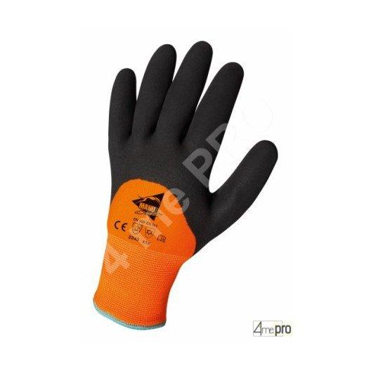 Gants résistants froid intérieur molleton - latex sur polyamide fluo dos 3/4 - normes EN 388 2243 / EN 511 x1x