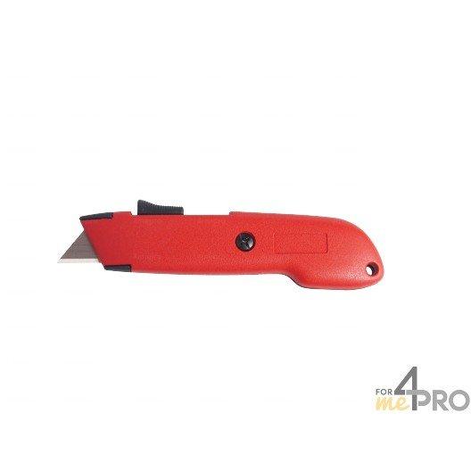 Couteau de sécurité trapèze rétractable Zamac avec bouton poussoir
