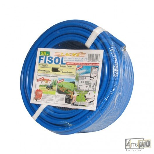 Fil électrique conducteur haute isolation Lacmé Fisol 25 m