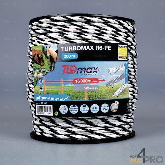 Corde noire et blanche TLD turbomax R6 6 mm - 6 conducteurs
