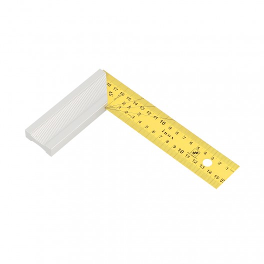 Equerre de menuisier avec lame inox jaune 20x12 cm