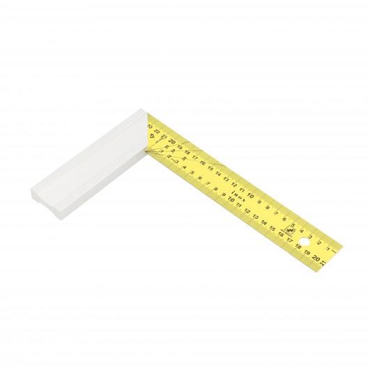 Equerre de menuisier avec lame inox jaune 25x15 cm