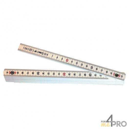 Mètre pliant fibre de verre blanc 10 branches - 2m