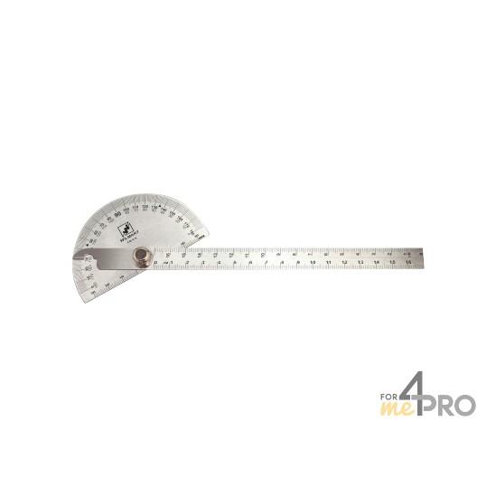 Rapporteur d'angle inox avec règle graduée 17 cm