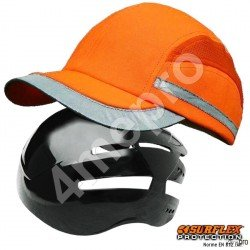 Casquette de protection Toutes saisons orange fluo + bandes grises réfléchissantes NF EN812 A1