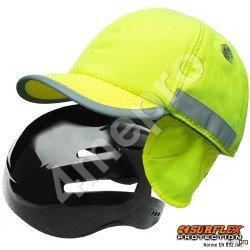 Casquette de protection Hiver jaune fluo + bandes grises réfléchissantes NF EN812 A1