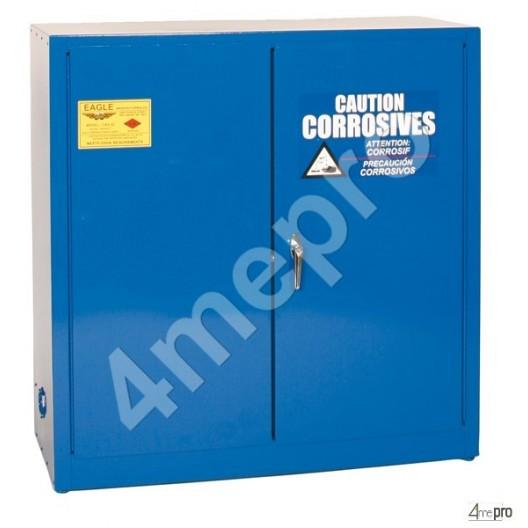 Armoire de sécurité 113 L bleue pour acides et produits corrosifs avec portes à fermeture automatique