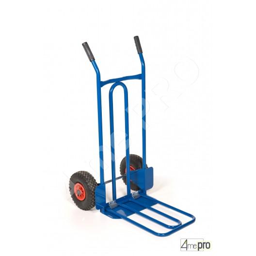 Diable acier pelle rabattable 250 kg roues pneumatiques