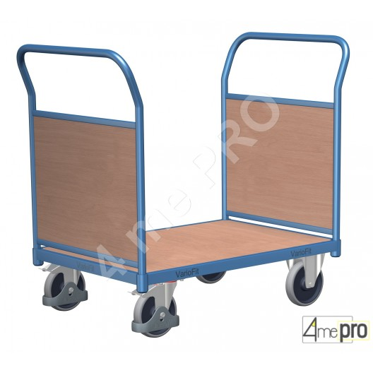 Chariot acier à paroi double 500 kg 120x80 cm avec plateau bois
