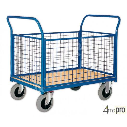 Chariot acier 4 grilles 500 kg 100x70 cm avec plateau bois